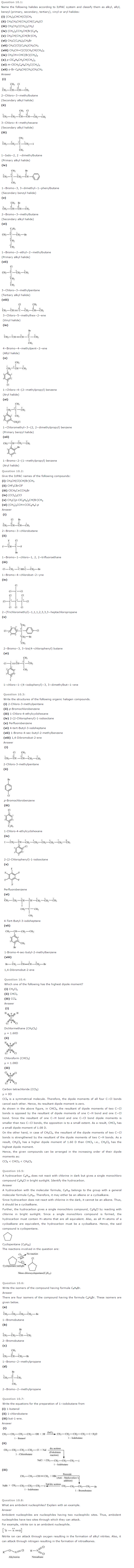 NCERT Solutions Class 12 Chemistry Chapter 10 Haloalkanes