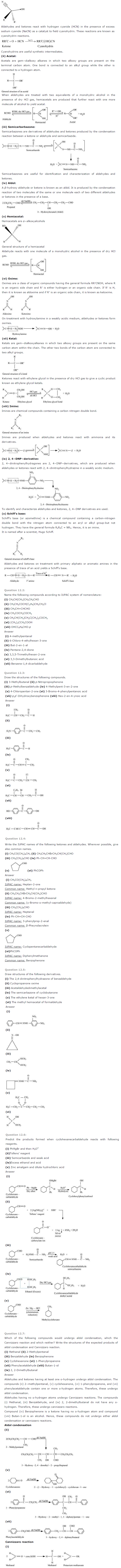 NCERT Solutions Class 12 Chemistry Chapter 12 Aldehydes Ketones