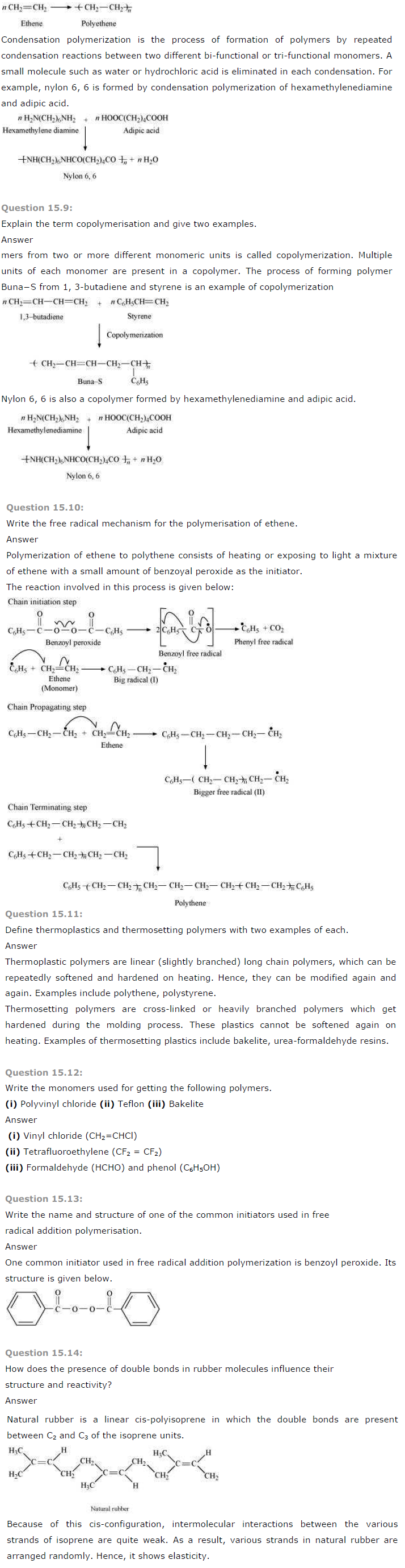 NCERT Solutions for Class 12 Chemistry Chapter 15 Polymers