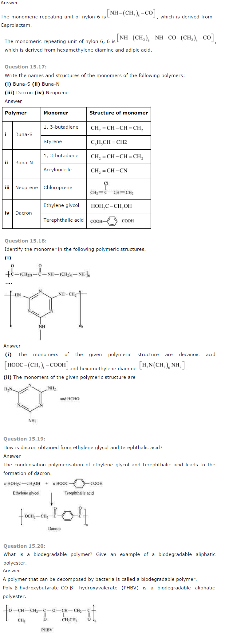 NCERT Solutions Class 12 Chemistry Chapter 15 Polymers NCERT Solutions Class 12 Chemistry Chapter 15 Polymers NCERT Solutions Class 12 Chemistry Chapter 15 Polymers NCERT Solutions Class 12 Chemistry Chapter 15 Polymers