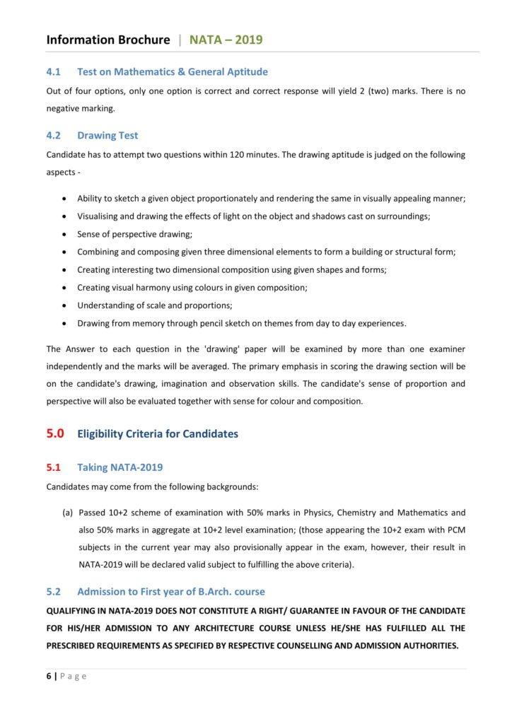 Eligibility Criteriafor NATA 2019