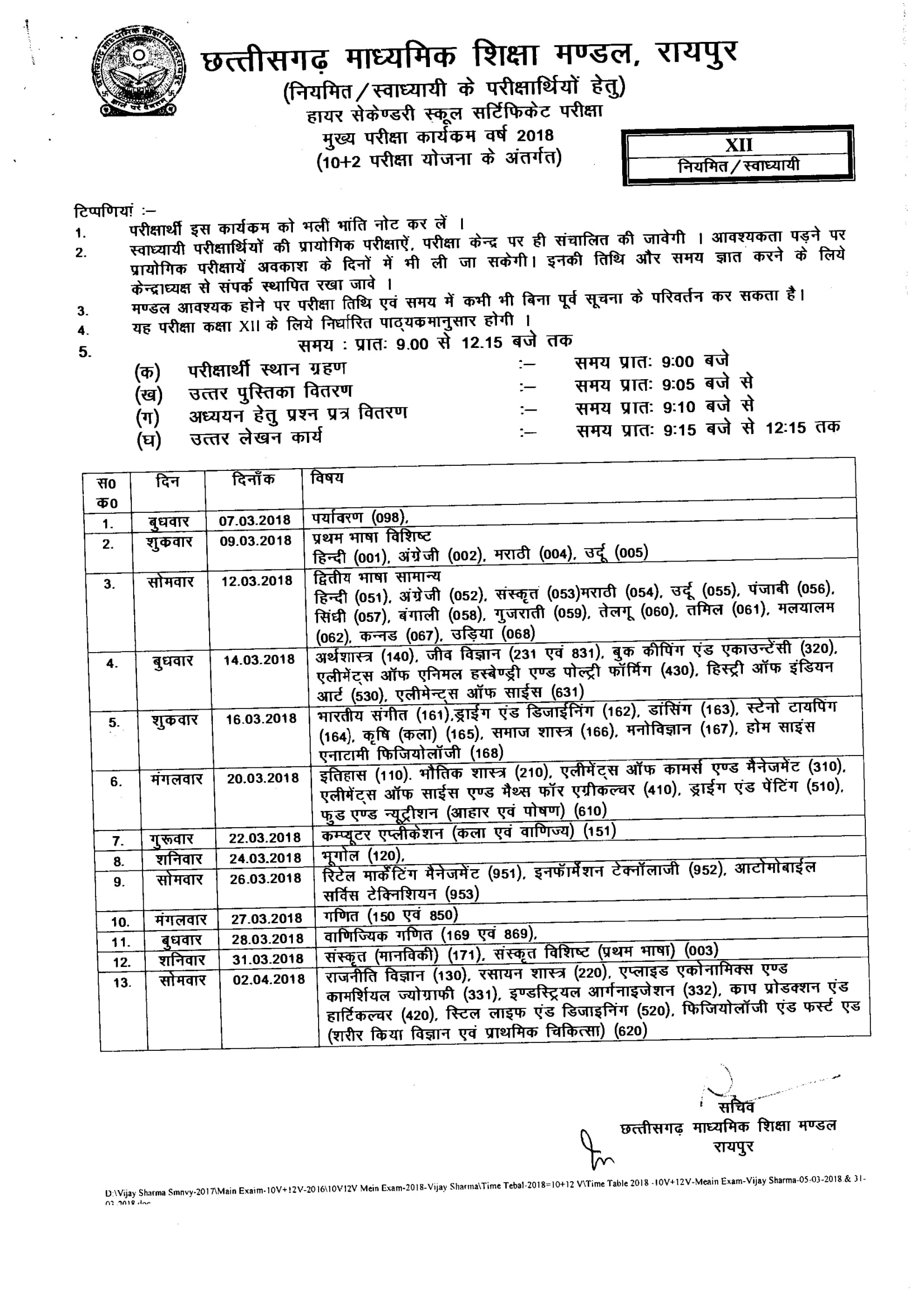Worksheets 12 Time Table 12th time table 2018 cg exam date pdf chhattisgarh cgbse sheet 2018