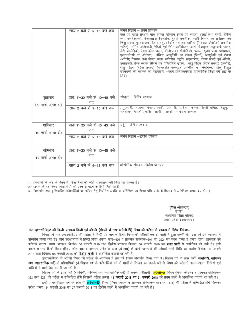 Intermediate, High School UP Board Time Table 2018 Uttar Pradesh Board Date Sheet Class 12th, 10th 2018 PDF Download