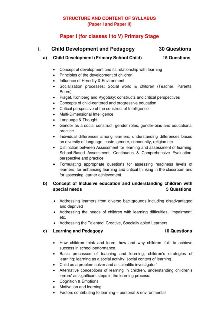 CTET 2018 Syllabus Paper 1, 2 Classes 1st To 5th, 6th To 8th