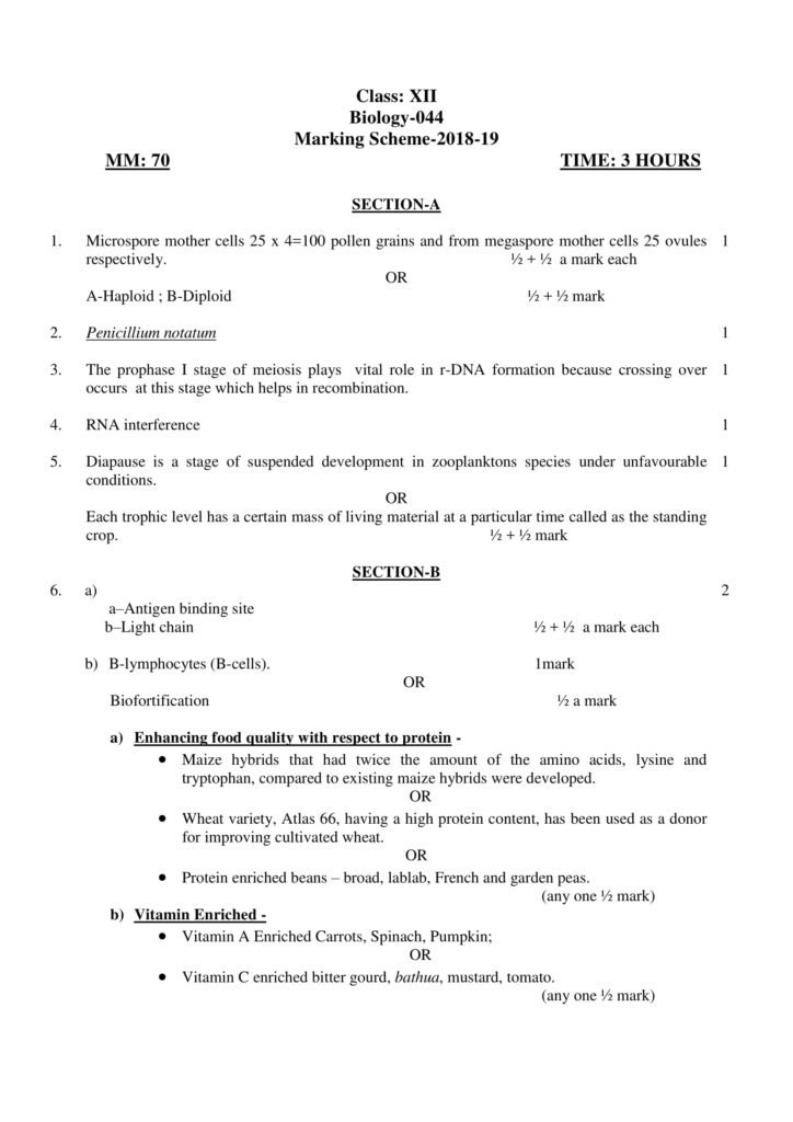 Biology Class 12 CBSE Solved Papers For Boards 2019 with Answers | Marking Scheme PDF Download
