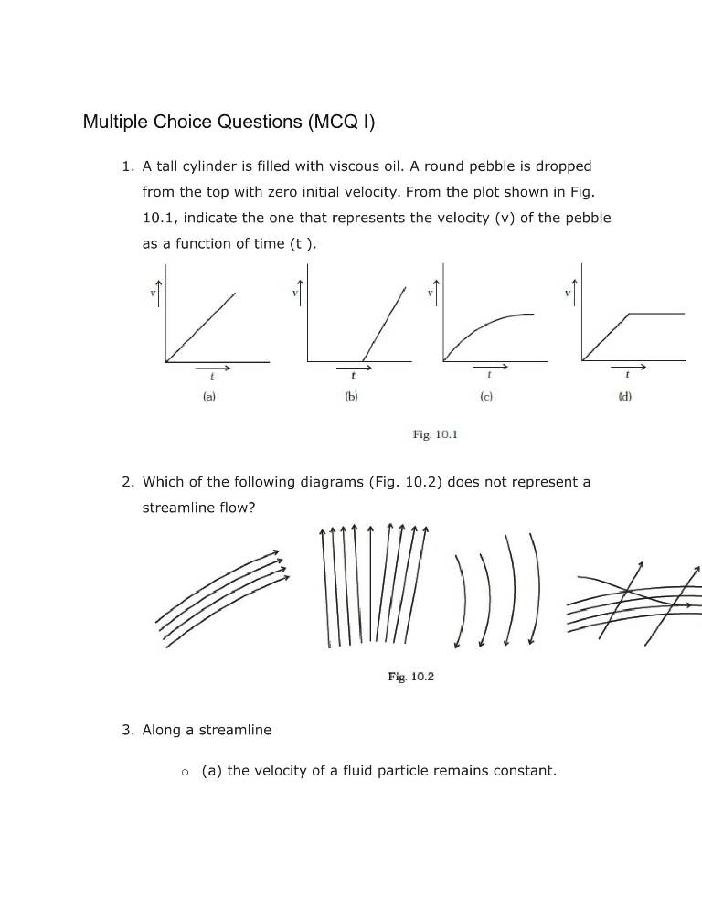 Important Questions For Class 11 Physics Ch 10 Mechanical Properties Of Fluids