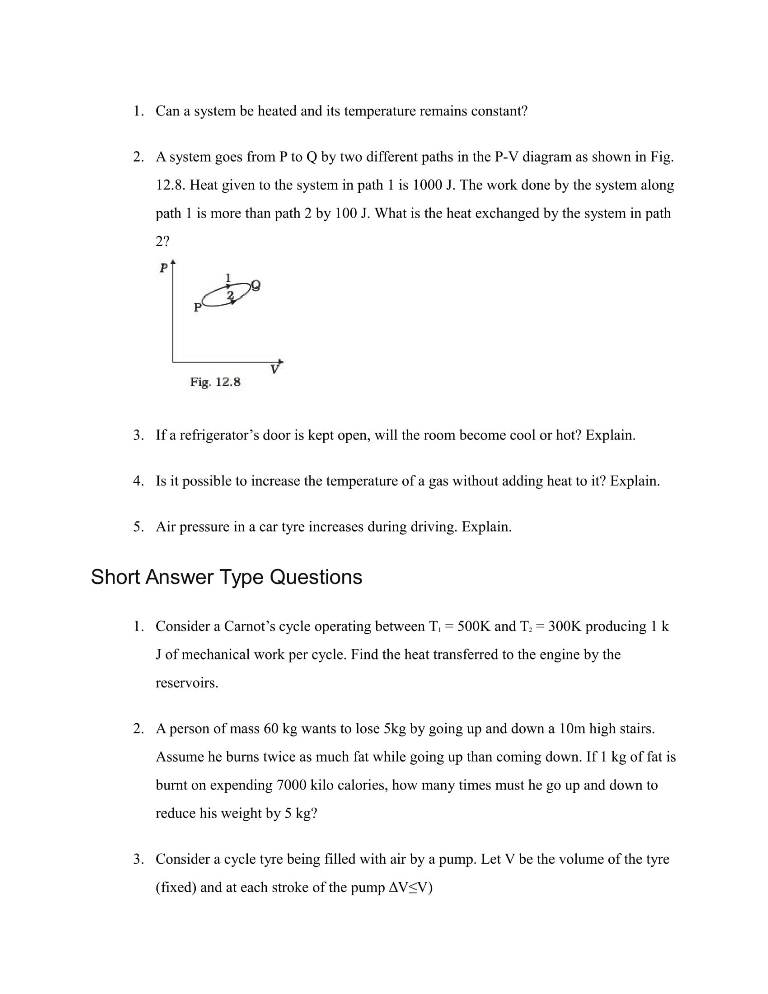 Important Questions For Class 11 Physics Ch 12 Thermodynamics