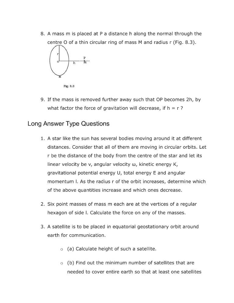Important Questions For Class 11 Physics Ch 8 Gravitation