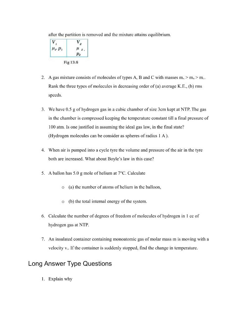 Important Questions For Class 11 Physics Chapter 13 Kinetic Theory
