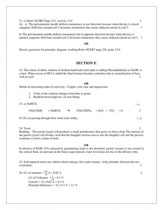 Science Class 10 CBSE Solved Papers With AnswersPhysics