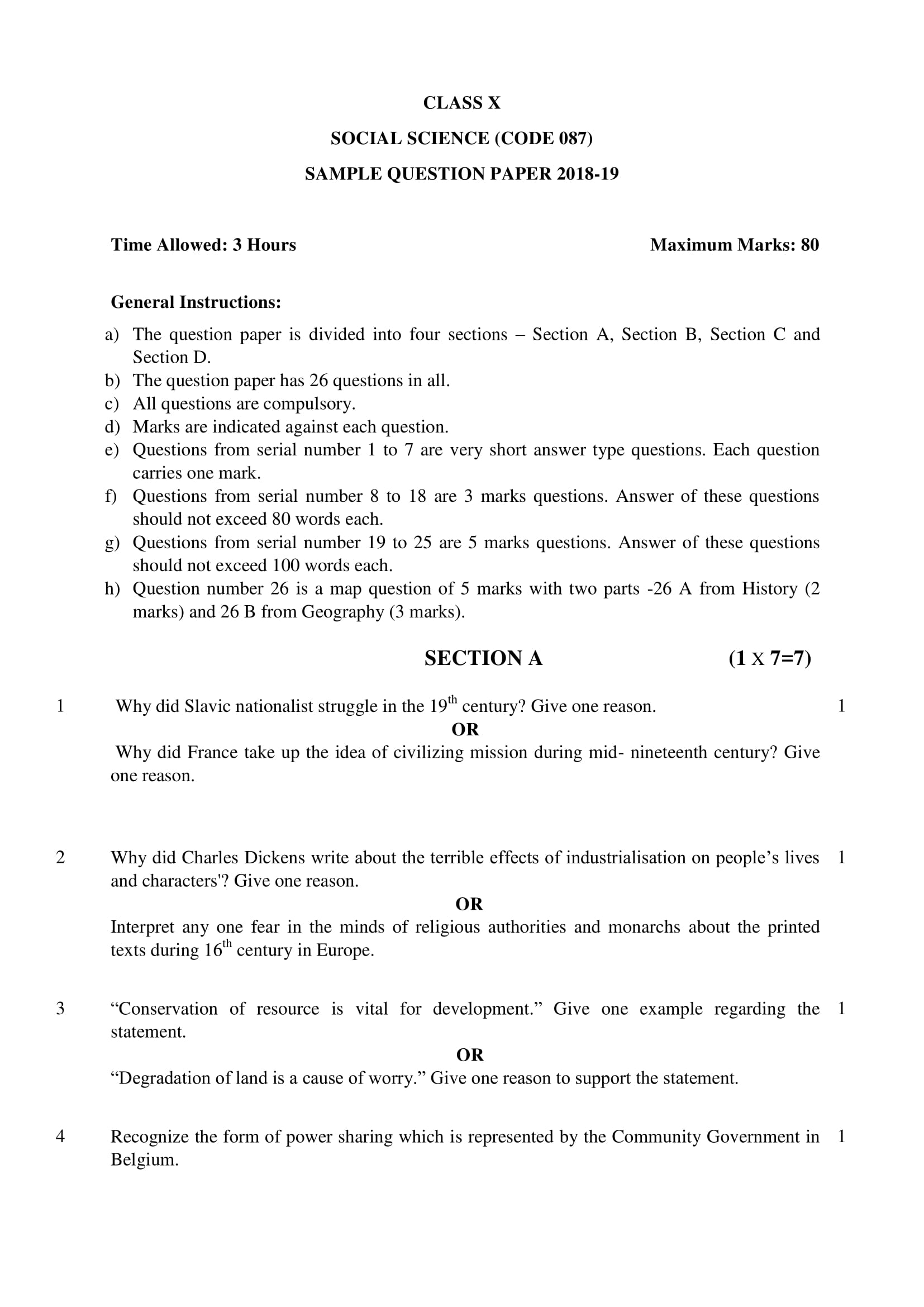 Social Science Class 10 CBSE Solved Papers with Answers History, Civics, Geography, Economics Marking Scheme PDF Download 2019 – Official