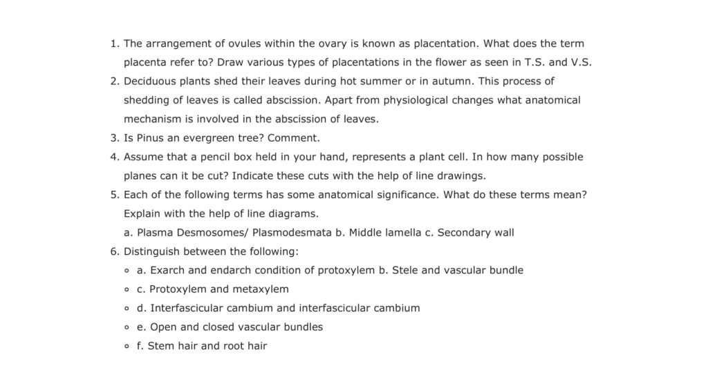 Important Questions For Class 11 Biology Ch 6 Anatomy of Flowering Plants