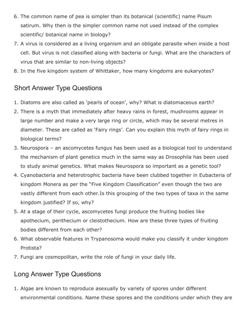 Important Questions For Class 11 Biology Chapter 2 Biological Classifications