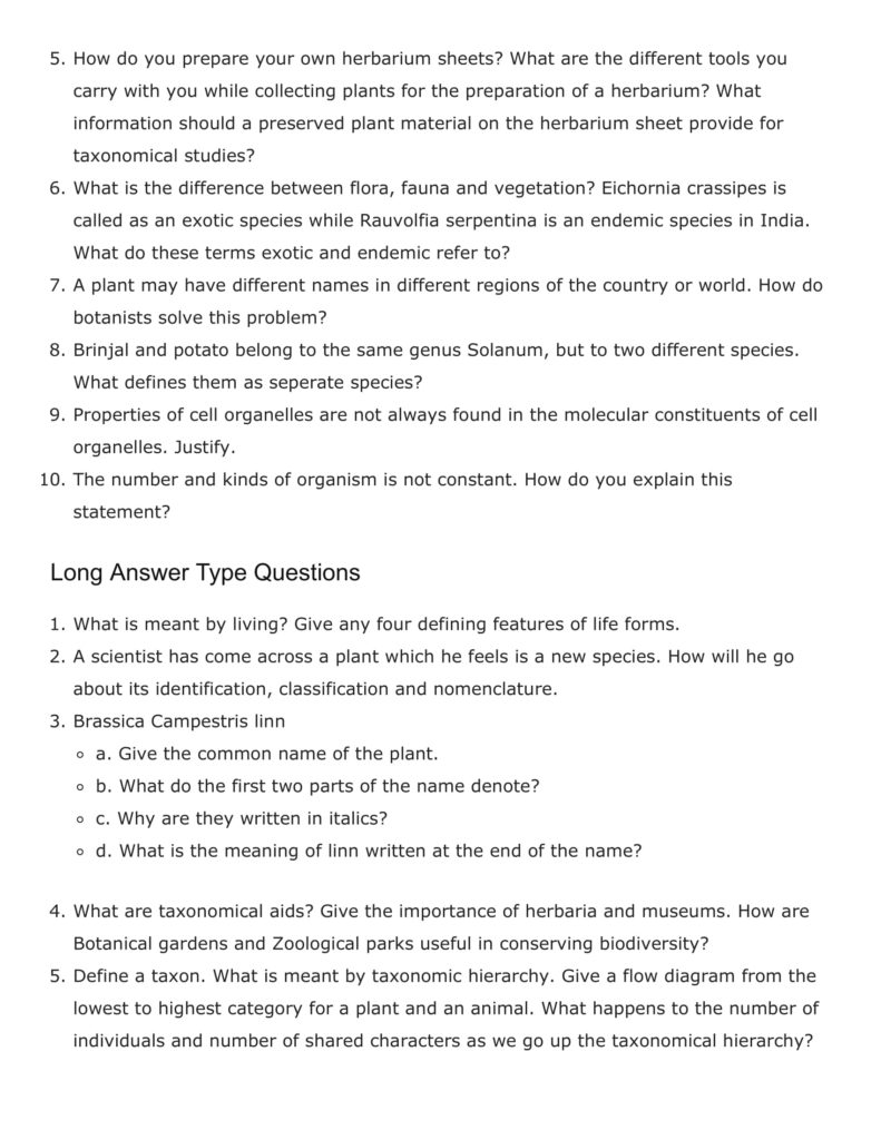 Important Questions For Class 11 Biology Ch 1 The Living World