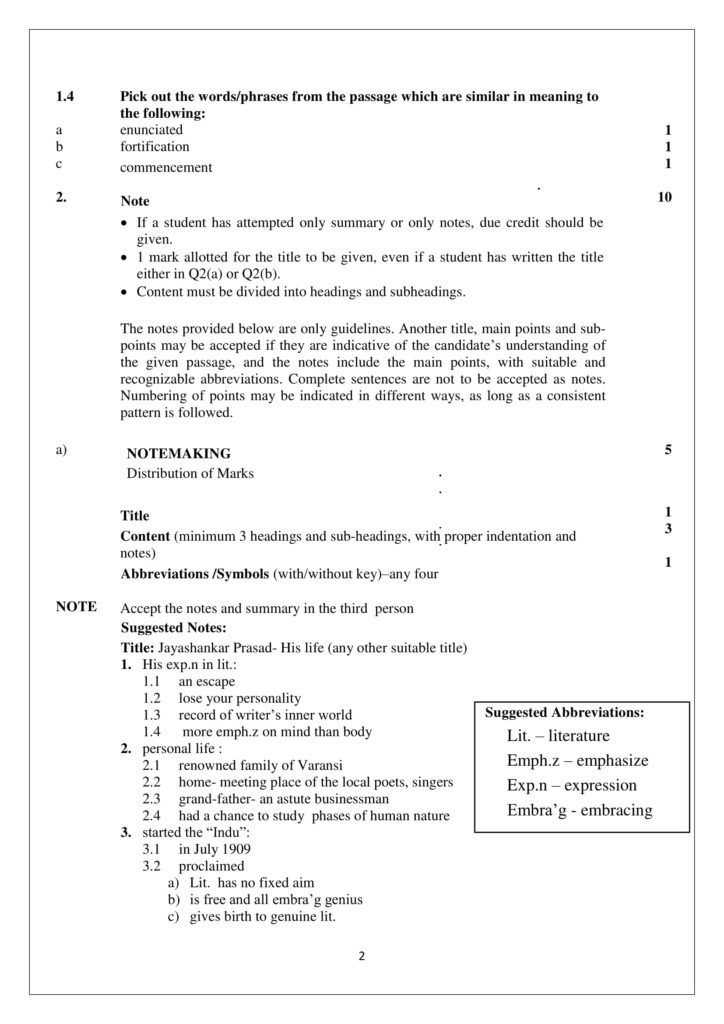 English Core Class 12 Marking Scheme, Solved Paper with answers PDF Download 2018-19