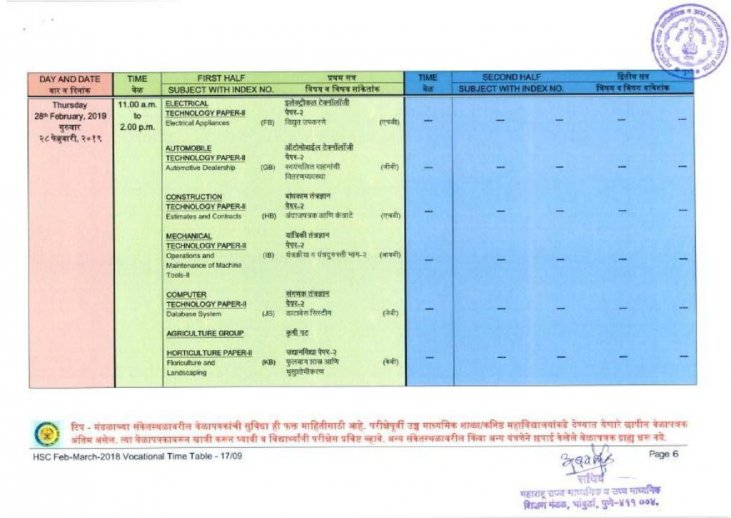 HSC Time Table for Maharashtra Board - MSBSHSE 12 Date Sheet