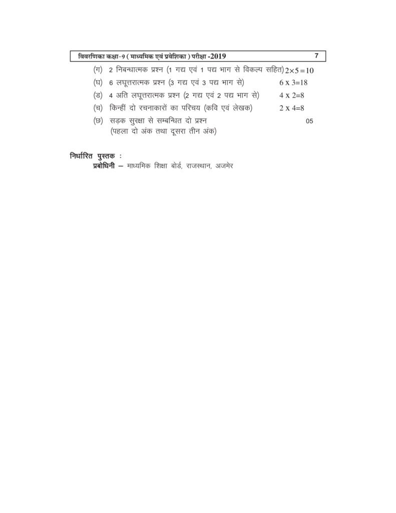 Class 9 RBSE Syllabus - IX Syllabus for Rajathan Board PDF Download