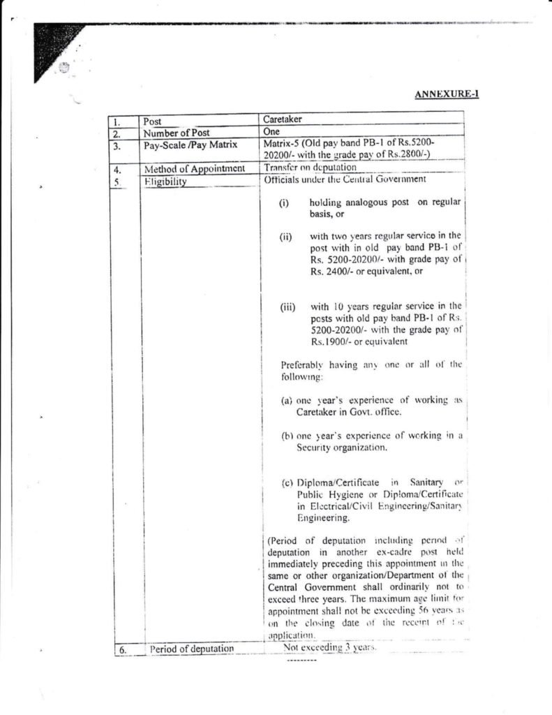 Recruitment of SSC Caretaker Pay Scale, Eligibility Criteria, Post Vacancy - Deputation Basis Recruitment of SSC Caretaker Pay Scale, Eligibility Criteria, Post Vacancy - Deputation Basis Post of Caretaker in the Pay Matrix-5 {old Pay Band PB-1 of Rs. 5200- 20200/- with the Grade Pay of Rs. 2800/-) in the Headquarters of the Staff Selection Commission at New Delhi on Deputation Basis.