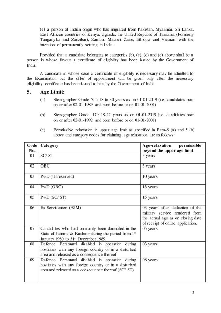 Age Limit  | SSC Stenographer Grade C & D Exam 2018 Stenographer Grade 'C': 18 to 30 years as on 01-01-2019 (i.e. candidates born on or after 02-01-1989 and born before or on 01-01-2001) Stenographer Grade 'D': 18-27 years as on 01-01-2019 (i.e. candidates born on or after 02-01-1992 and born before or on 01-01-2001) Permissible relaxation in upper age limit as specified in Para-5 (a) and 5 (b) above and category codes for claiming age relaxation are as follows: