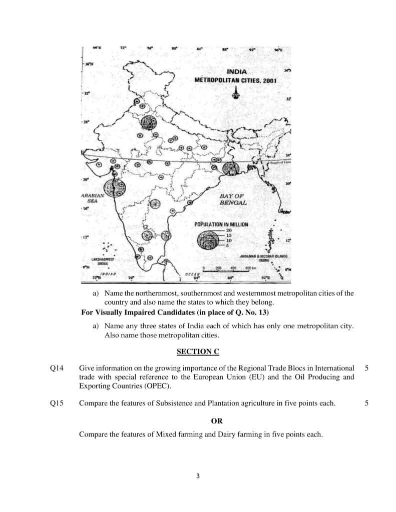 Geography Class 12 CBSE Solved Sample Papers