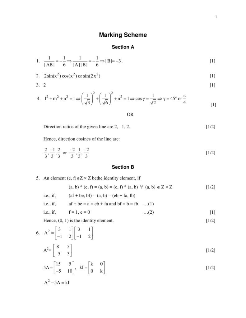 Maths Class 12 Marking Scheme, Solved Paper with answers PDF Download 2018-19