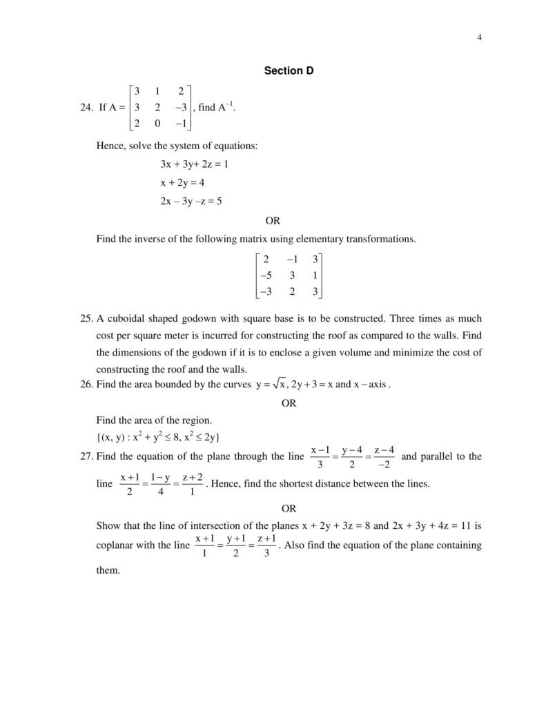 Maths Class 12 Sample Question Paper PDF Download 2018-19
