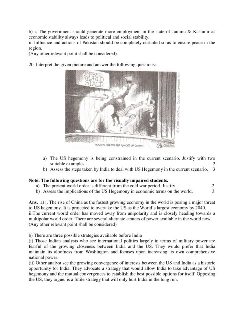 Political Science Class 12 Marking Scheme, Solved Paper with answers PDF Download 2018-19