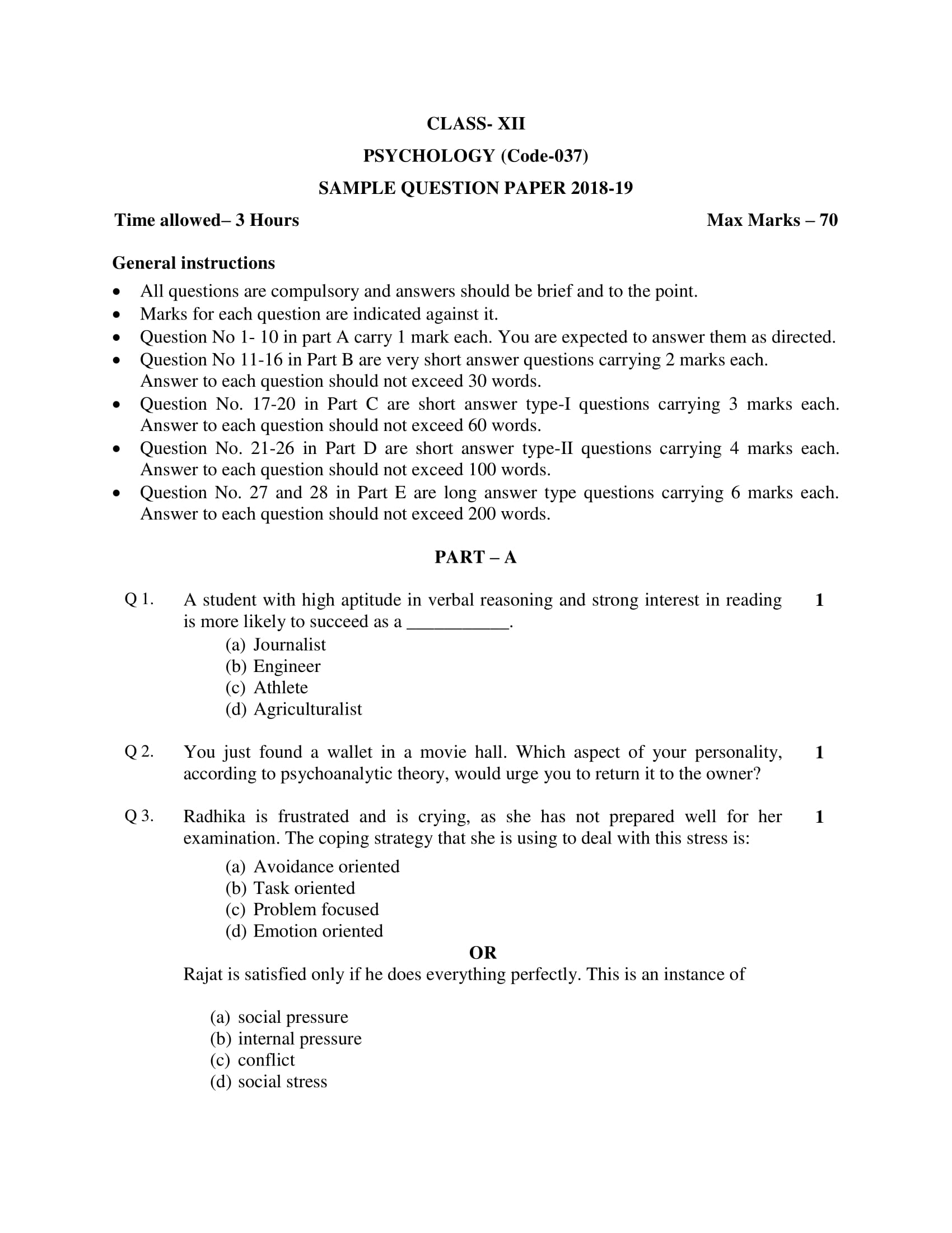 Psychology Class 12 Sample Question Paper PDF Download 2018-19