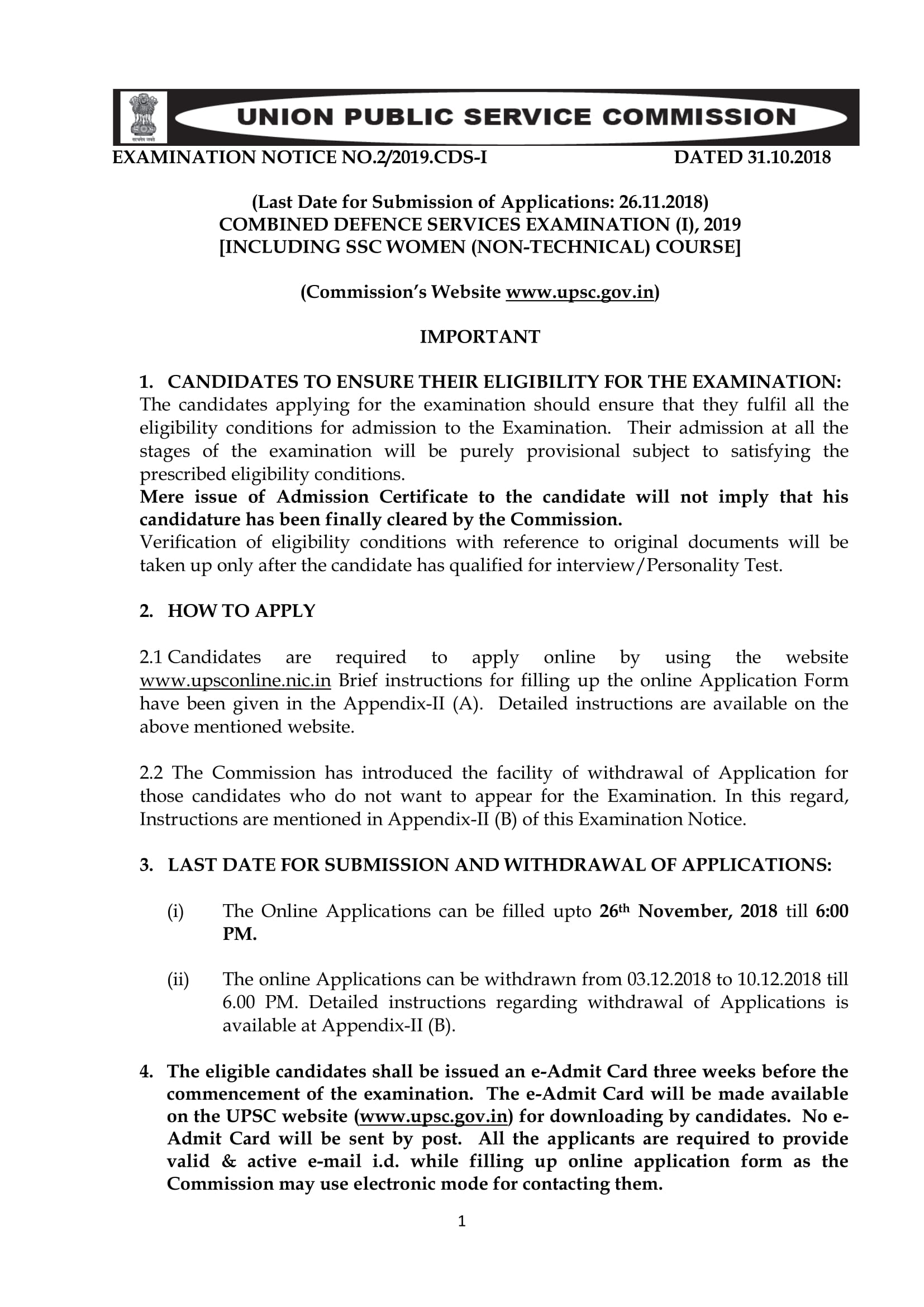 Important Dates for CDS 1 2019,UPSC Combined Defence Services 1 Exam