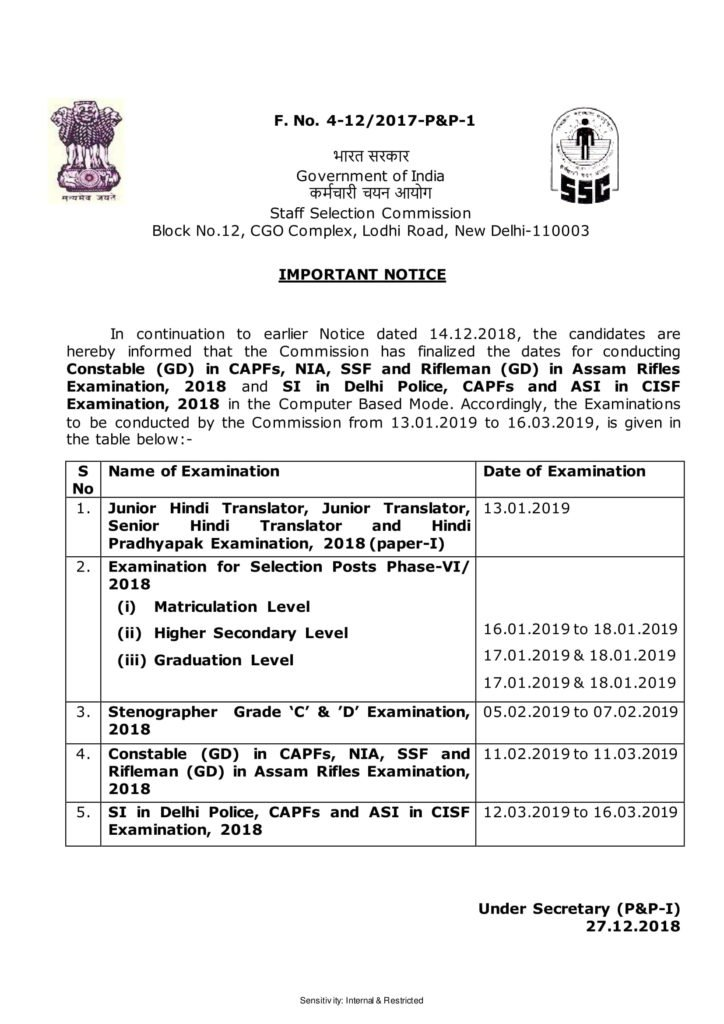 SSC Date Of Exams 2019 - Constable (GD) in CAPFs, NIA, SSF and Rifleman (GD) in Assam Rifles, SI in Delhi Police, CAPFs and ASI in CISF Exam 2018