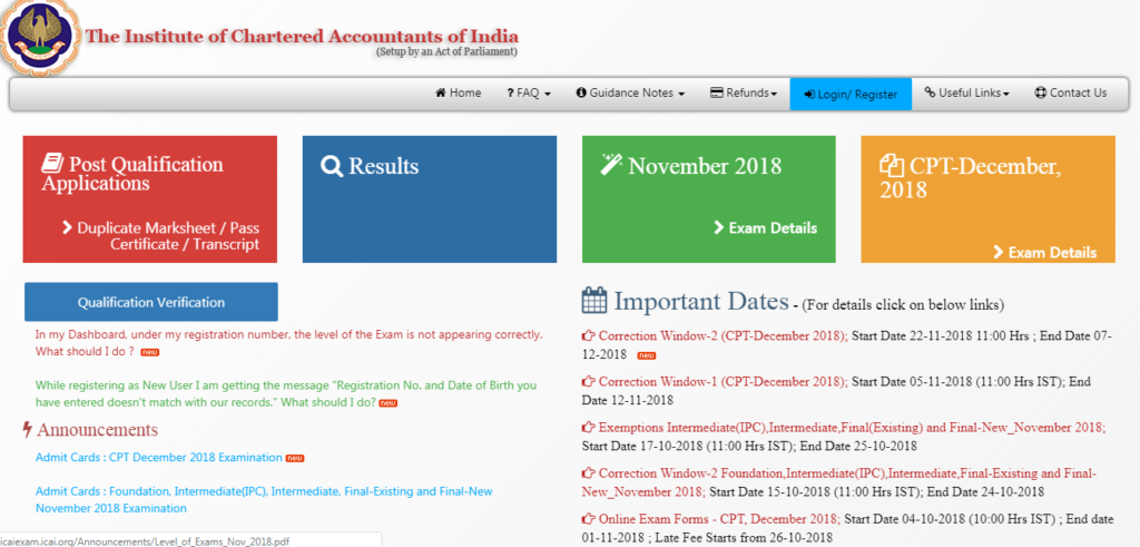 ICAI has announced Results for November 2018 Final and Foundation Exam today on 23rd January, 2019. Students can check the result and marks scored in CA Final & Foundation November 2018 Exam here