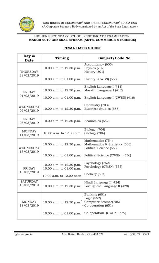 Download in PDF MAIN EXAM Goa Board HSSC Time Table 2019, GBSHSE 12th Date Sheet - Released