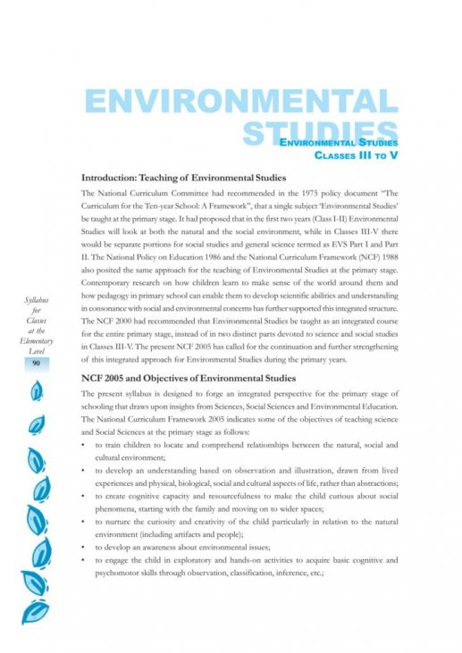 CBSE Syllabus For Environmental Science EVS Classes 3, 4, 5