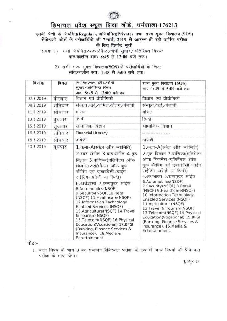 HPBOSE Class 10 Date Sheet 2019, hpbose.org Matric Exam Notification