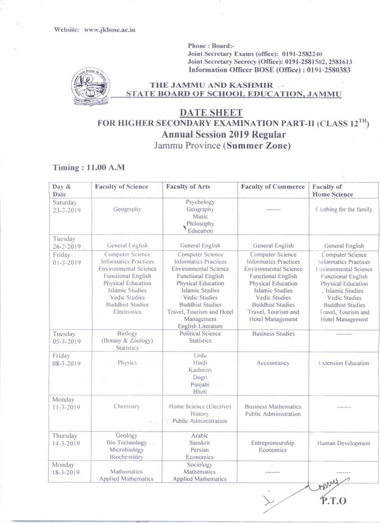JKBOSE 12th Date Sheet 2019, Jammu & Kashmir Board Class XII Board Exam
