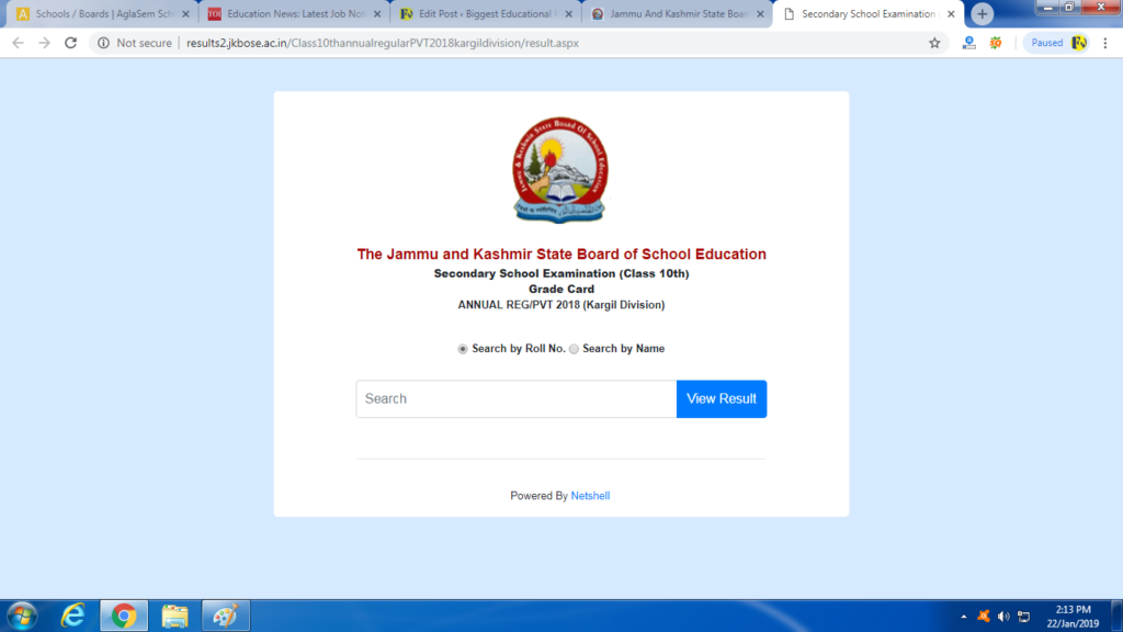 JKBOSE Class 10 Results 2018 - Kargil Division, Jammu & Kashmir Board (Annual Regular/ Private)Announced