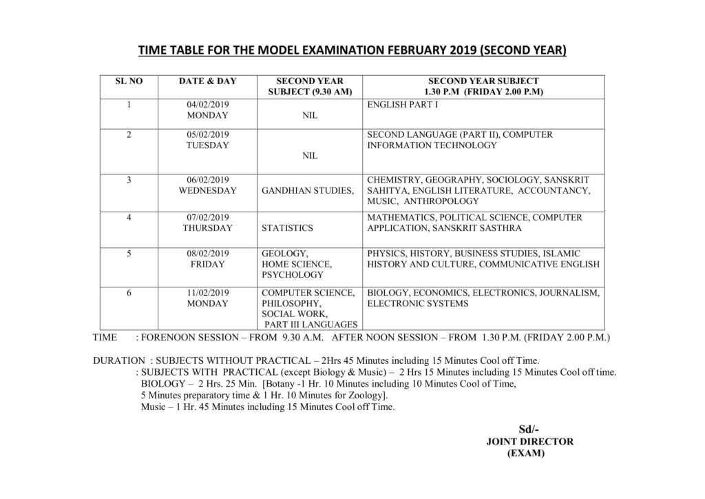 Kerala HSE Time Table 2019, Download First, Second Year Date Sheet