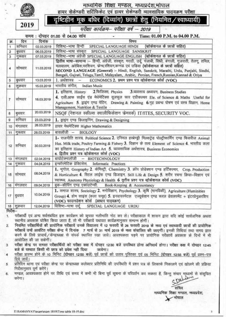 MPBSE Class 12 Time Table 2019, MP Board HSC Time Table