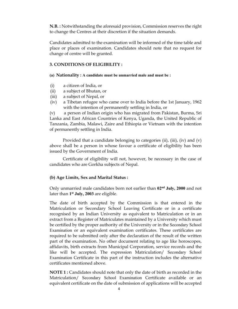 NDA 1 Age Limits 2019