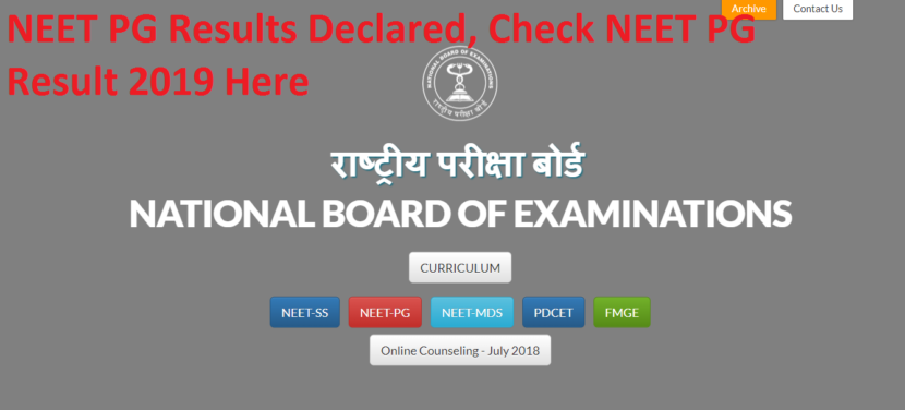 NEET PG Results Declared, Check NEET PG Result 2019 Here