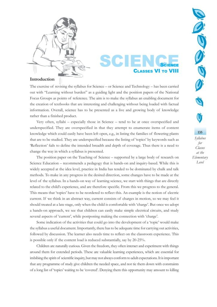 CBSE Syllabus For Science Classes 6, 7, 8 - New NCERT Pattern at Elementary Level