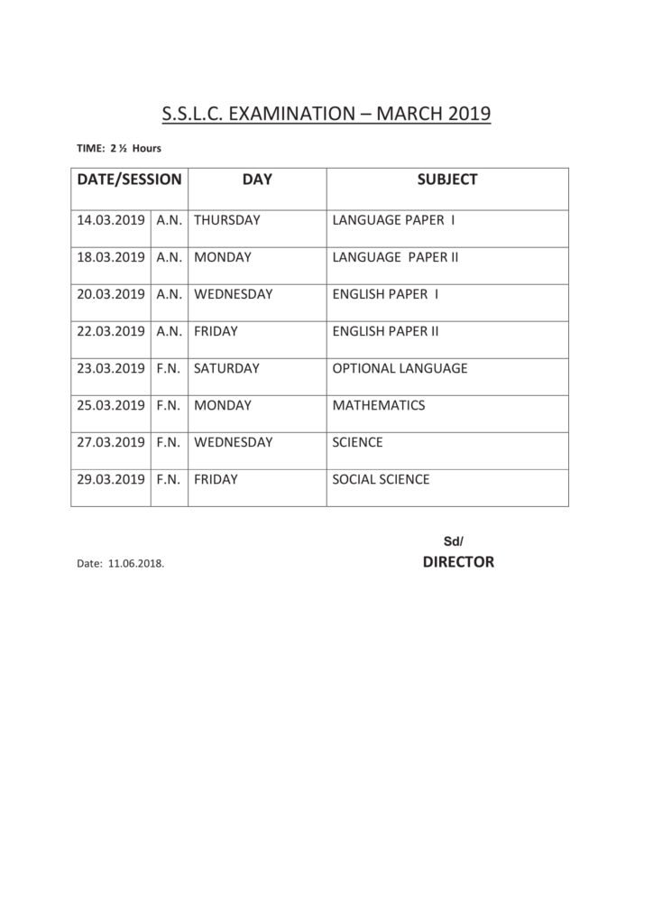 TN Board HSE 1st, 2nd Year Time Table 2019, dge.tn.gov.in Old & New Pattern