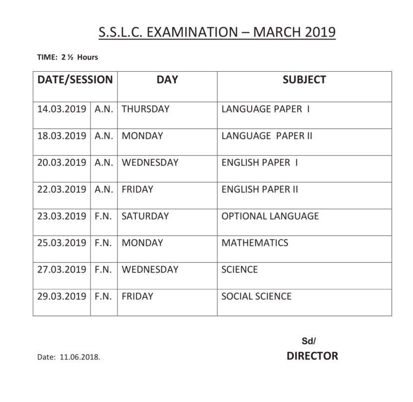 TN Board SSLC Time Table 2019, dge.tn.gov.in Class 10th Exam