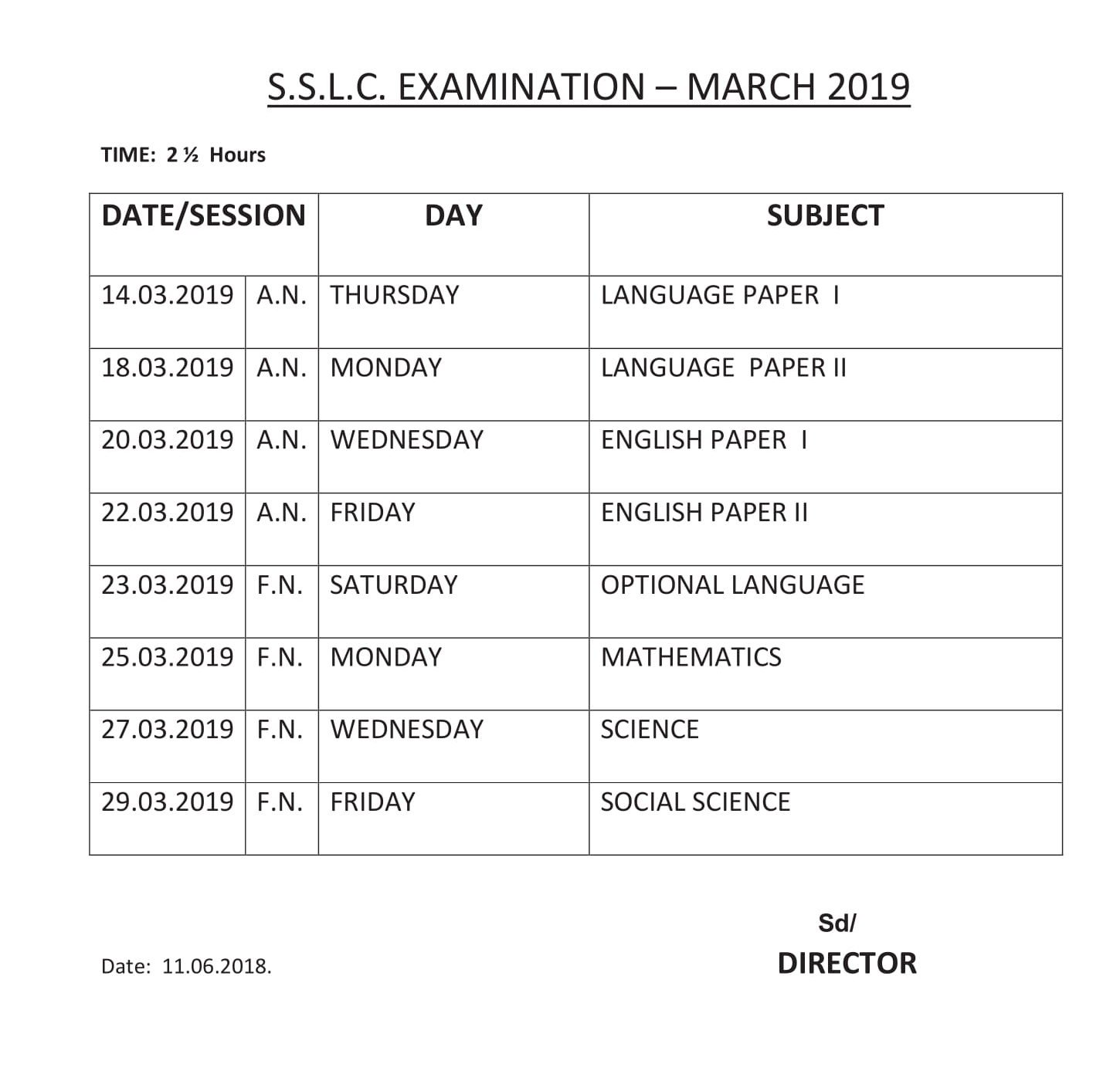 TN Board SSLC Time Table 2019, dge.tn.gov.in Class 10 Exam