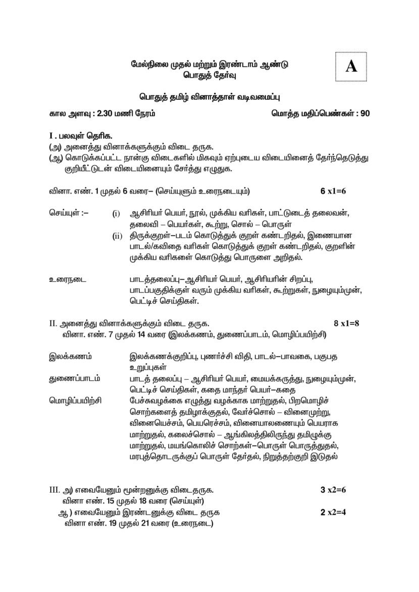 Tamil Nadu Board HSE New Question Paper Pattern for 1st, 2nd Year Exam
