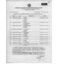 Tripura Class 12th Routine 2019, TBSE HS Exam Programme - Revised