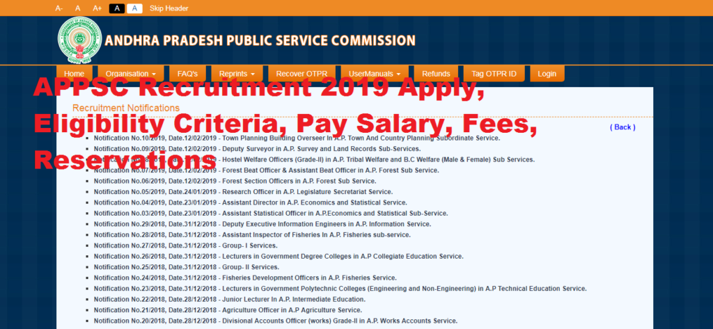APPSC Recruitment 2019 Apply, Eligibility Criteria, Pay Salary, Fees, Reservations