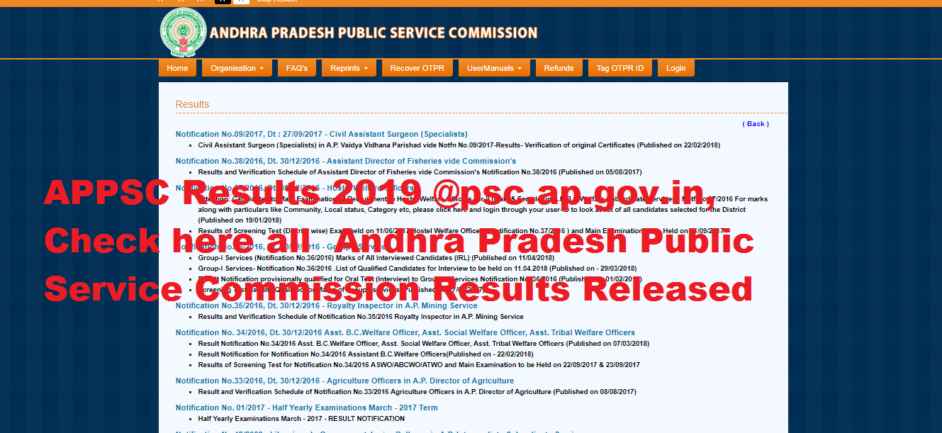 APPSC Results 2019, Released Andhra Pradesh Public Service Commission Results