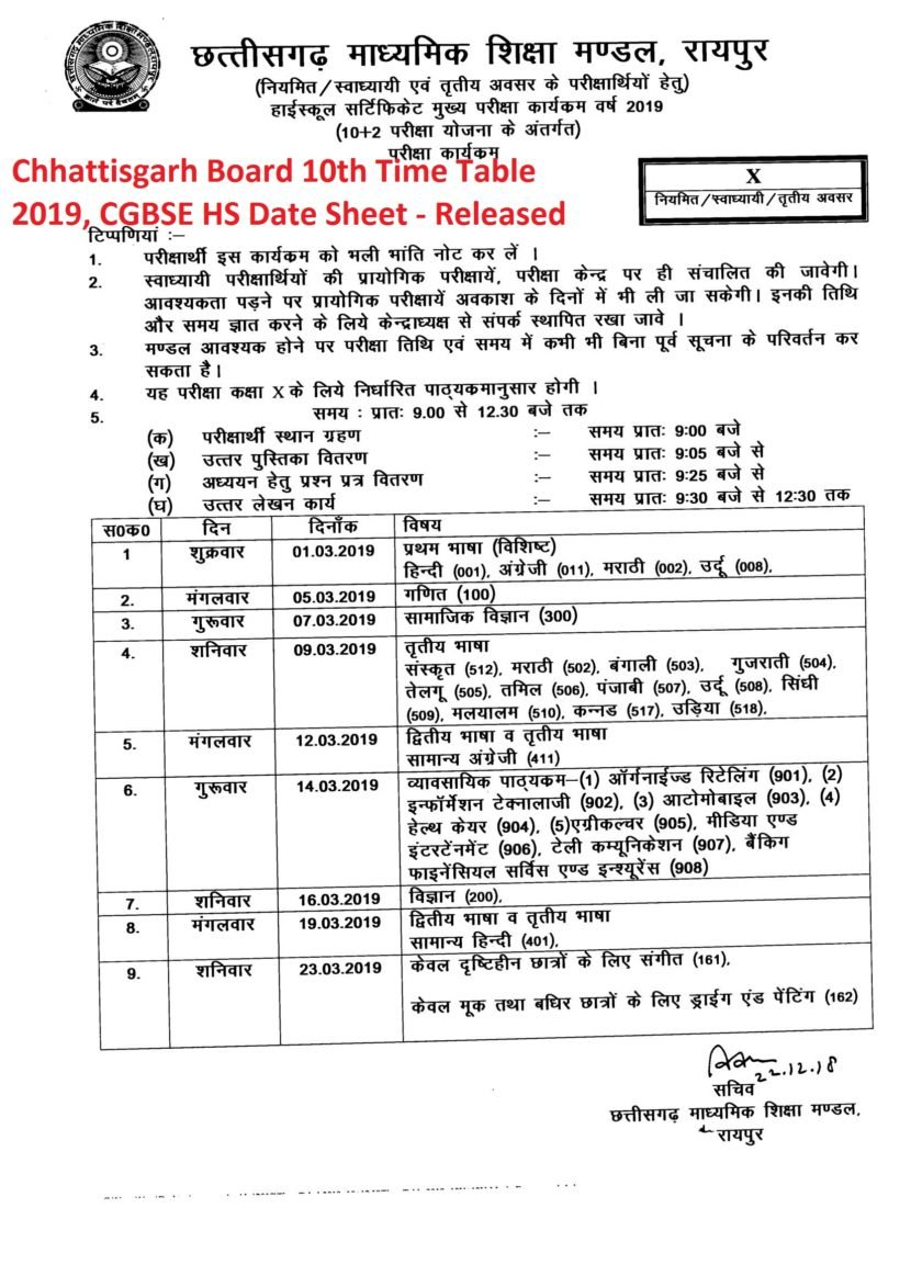 CG Board 10th Time Table 2019, CGBSE HS Date Sheet - Released