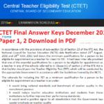 CTET Final Answer Keys December 2018 for Paper 1, 2 Download in PDF